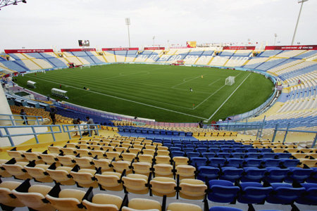 A general view of the football venue at the Al-Gharafa Sports Club of the 15th Asian Games Doha