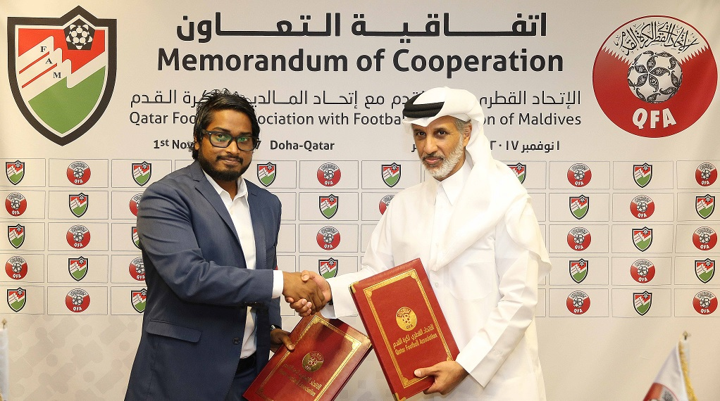 Qfa And Football Federation Of Maldives Sign Cooperation Agreement